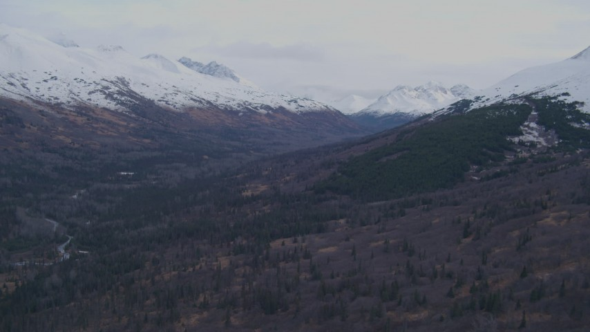 4K stock footage aerial video a valley and snowy Chugach Mountains, Alaska Aerial Stock Footage | AK0001_0252