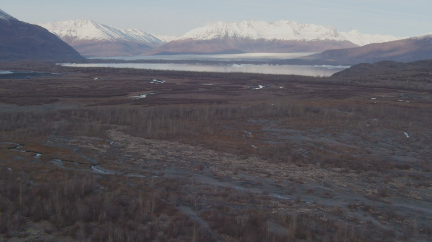 4K stock footage aerial video flying low over the river valley, approaching Inner Lake George, Alaska Aerial Stock Footage | AK0001_0281