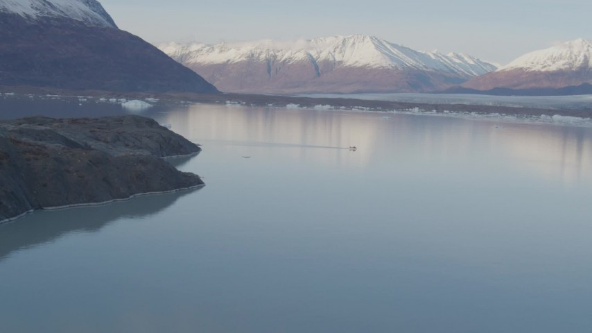 4K stock footage aerial video a seaplane on the lake, Chugach Mountains, Inner Lake George, Alaska Aerial Stock Footage | AK0001_0283