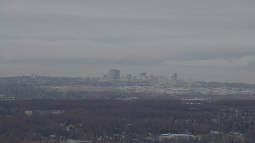 4K stock footage aerial video flying by Downtown and Merrill Field, Downtown Anchorage, Alaska Aerial Stock Footage | AK0001_0340