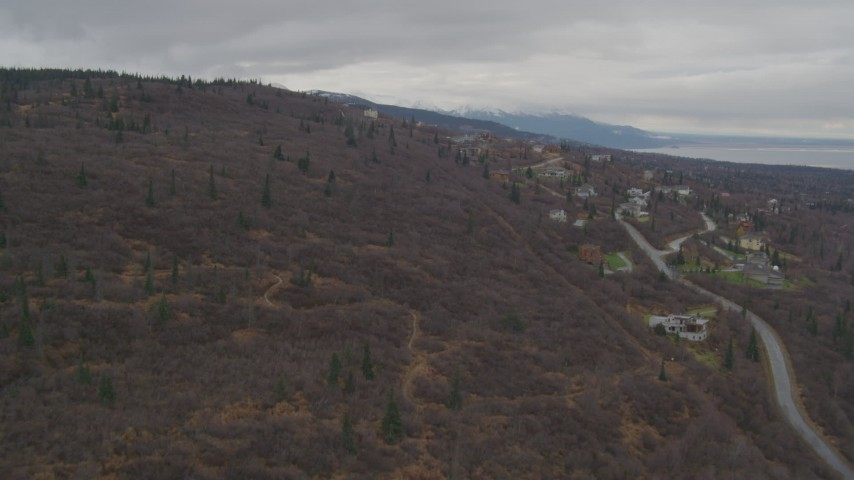 4K stock footage aerial video approaching an upscale residential neighborhood in the foothills, Anchorage, Alaska Aerial Stock Footage | AK0001_0344