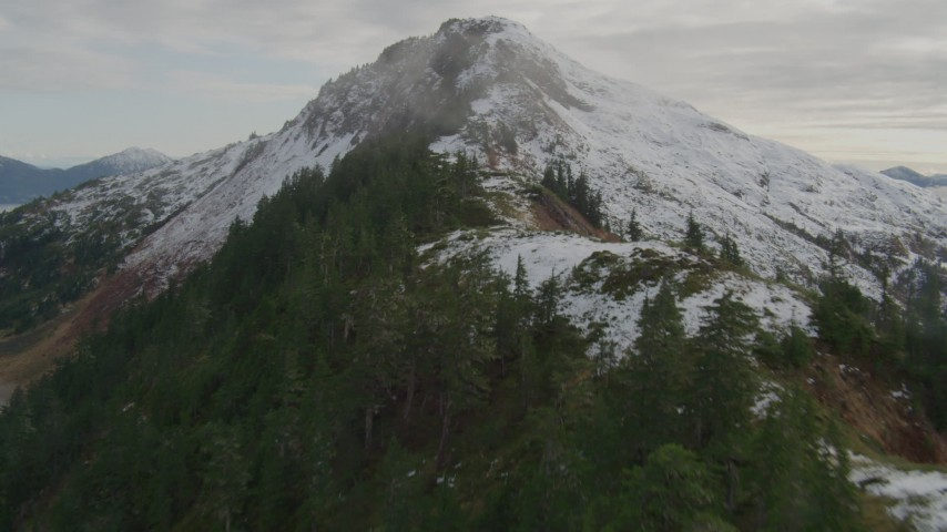 4K stock footage aerial video ascend tree lined slope of Chugach Mountain ridge, Prince William Sound, Alaska Aerial Stock Footage | AK0001_0419