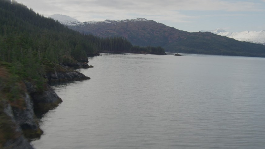 4K stock footage aerial video flying over the bay, along the tree lined shore, Prince William Sound, Alaska Aerial Stock Footage | AK0001_0431