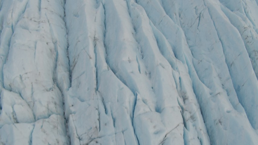 4K stock footage aerial video flying low over the surface of a glacier, Prince William Sound, Alaska Aerial Stock Footage | AK0001_0443