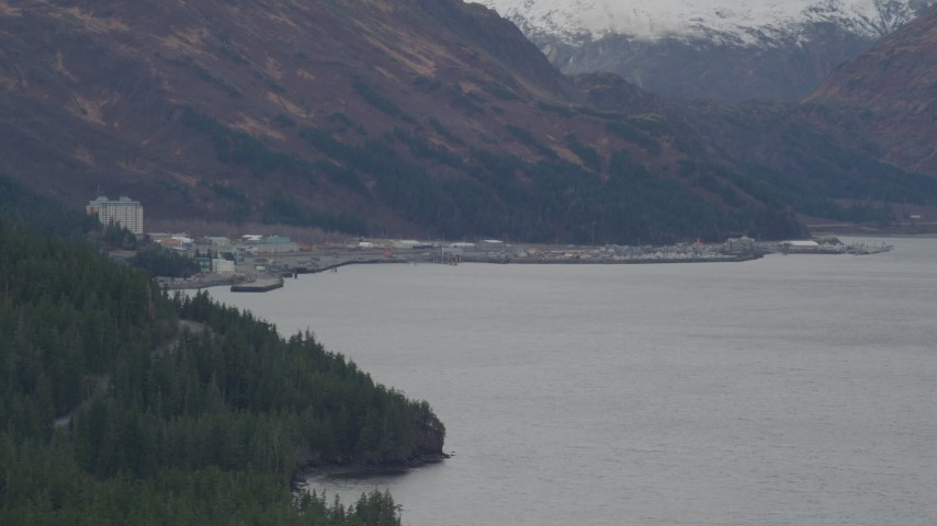 4K stock footage aerial video approaching the town of Whittier in the Prince William Sound, Whittier, Alaska Aerial Stock Footage | AK0001_0497