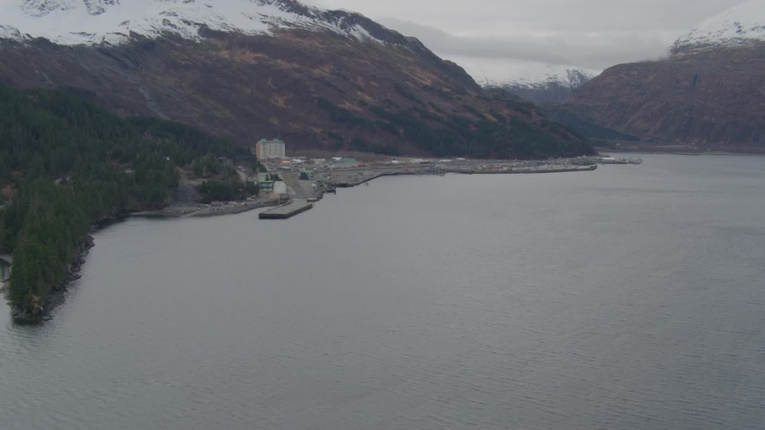 4K stock footage aerial video flying over the bay, approaching docks, Whittier, Alaska Aerial Stock Footage | AK0001_0499