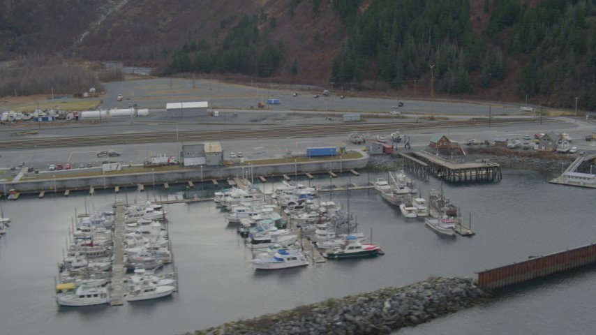 4K stock footage aerial video flying by docked boats and ships, Whittier, Alaska Aerial Stock Footage | AK0001_0501
