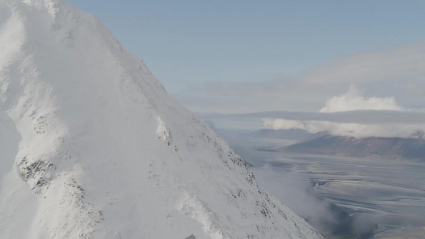 4K aerial video fly around peak, reveal Turnagain Arm of the Cook Inlet, Kenai Mountains, Alaska Aerial Stock Footage | AK0001_0527