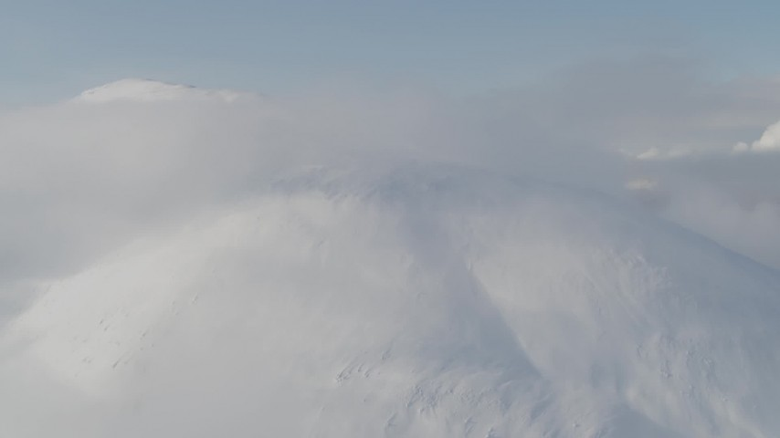 4K stock footage aerial video flying by low clouds on the summit, Kenai Mountains, Alaska Aerial Stock Footage | AK0001_0533
