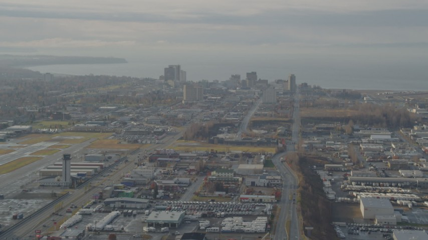 4K stock footage aerial video approaching Downtown Anchorage, Alaska Aerial Stock Footage | AK0001_0582
