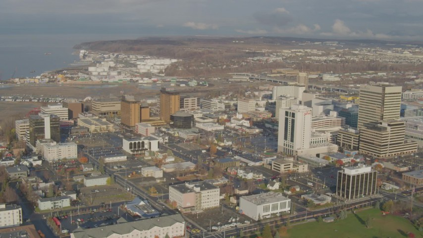 4K stock footage aerial video flying by Downtown buildings, Downtown Anchorage, Alaska Aerial Stock Footage | AK0001_0587