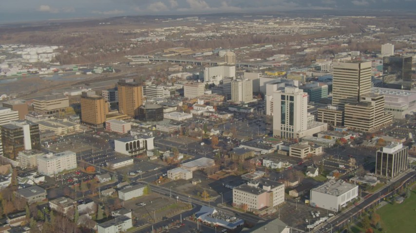 4K stock footage aerial video flying by Downtown buildings, Downtown Anchorage, Alaska Aerial Stock Footage | AK0001_0588