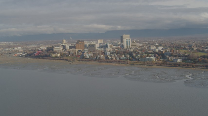 4K stock footage aerial video fly by Downtown, from Knik Arm of the Cook Inlet, Downtown Anchorage, Alaska Aerial Stock Footage | AK0001_0589