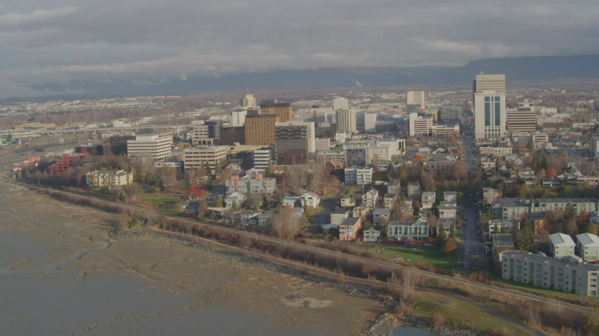 4K stock footage aerial video flying by Downtown from Knik Arm of the Cook Inlet, Downtown Anchorage, Alaska Aerial Stock Footage | AK0001_0591