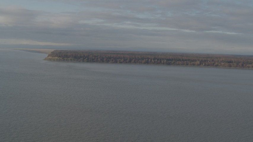 4K stock footage aerial video flying over Knik Arm of the Cook Inlet, approaching Point MacKenzie, Alaska Aerial Stock Footage | AK0001_0593