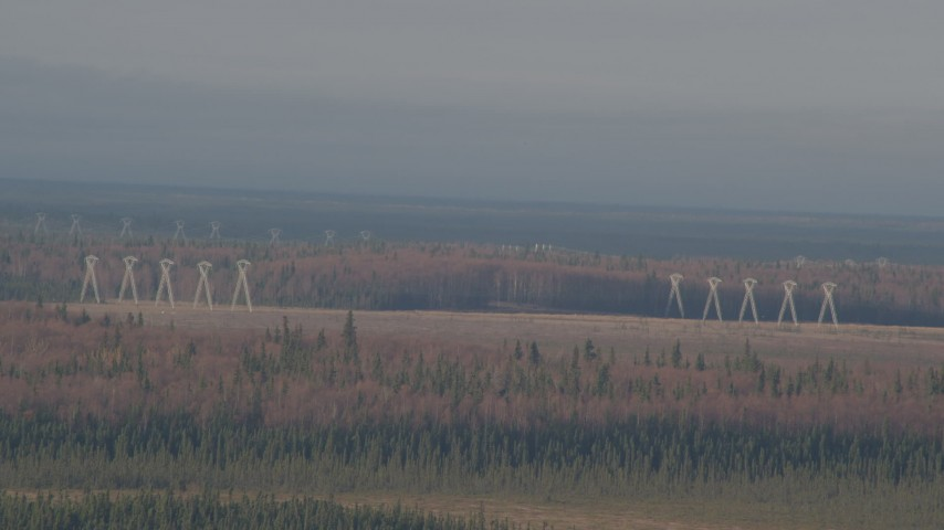 4K stock footage aerial video flying by power lines, forests, Point MacKenzie, Alaska Aerial Stock Footage | AK0001_0594