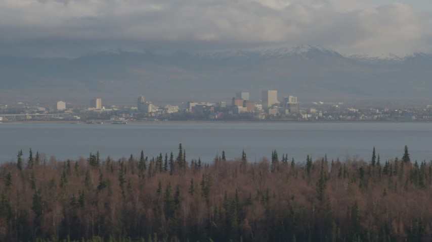 4K stock footage aerial video fly by Downtown Anchorage, Knik Arm of the Cook Inlet, Point MacKenzie, Alaska Aerial Stock Footage | AK0001_0595