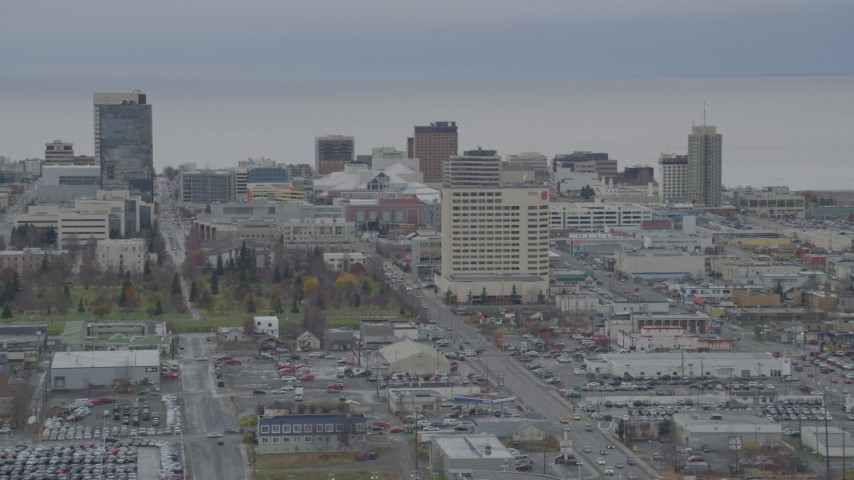 4K stock footage aerial video ascend from Merrill Field, approaching Downtown Anchorage, Alaska Aerial Stock Footage | AK0001_0674
