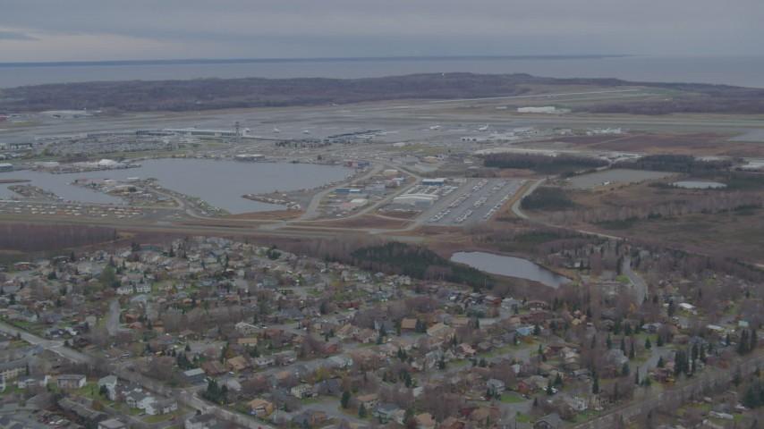 4K stock footage aerial video Lake Hood Seaplane Base, Ted Stevens Anchorage International Airport, Anchorage, Alaska Aerial Stock Footage | AK0001_0677