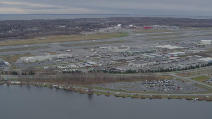 4K stock footage aerial video Lake Hood Seaplane Base, Ted Stevens Anchorage International Airport, Anchorage, Alaska Aerial Stock Footage | AK0001_0679