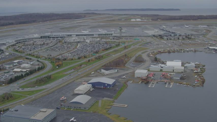 4K stock footage aerial video Lake Hood Seaplane Base, Ted Stevens Anchorage International Airport, Anchorage, Alaska Aerial Stock Footage | AK0001_0680