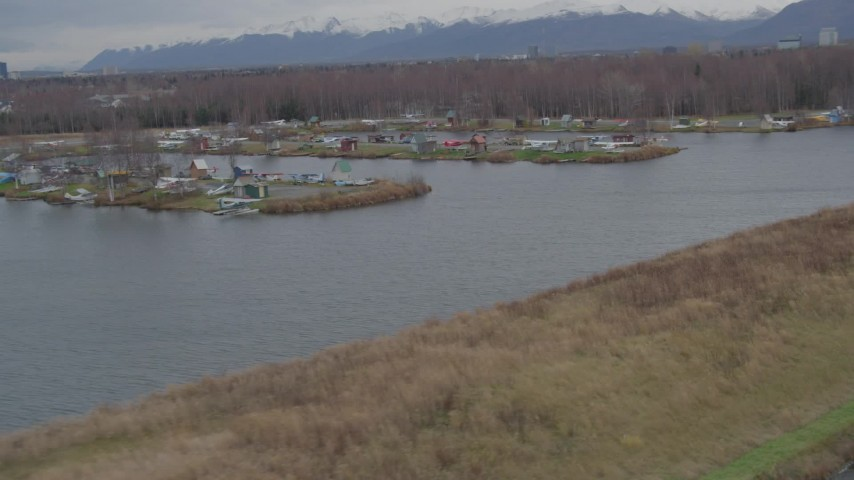 4K stock footage aerial video Lake Spenard, Lake Hood Seaplane Base, seaplanes, Anchorage, Alaska Aerial Stock Footage | AK0001_0685