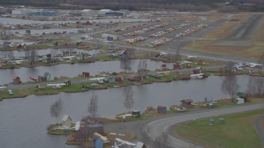 4K stock footage aerial video flying by Lake Hood Seaplane Base, Lake Hood Strip, Anchorage, Alaska Aerial Stock Footage | AK0001_0687