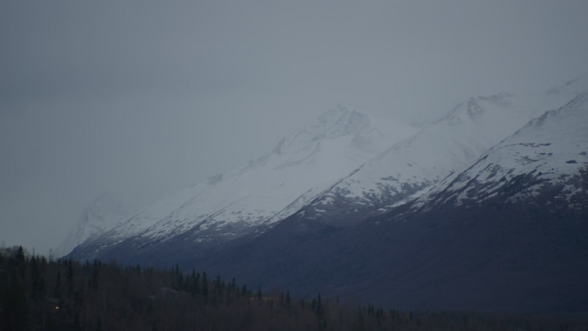 4K aerial video flying by snow-capped peaks, Chugach Mountains, Alaska Aerial Stock Footage | AK0001_0714