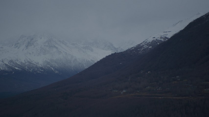 4K stock footage aerial video a view of rural homes and snow-capped Chugach Mountains, Alaska Aerial Stock Footage   AK0001_0716