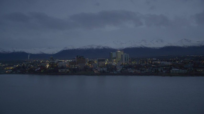 4K aerial video fly over Knik Arm of the Cook Inlet, winter, by Downtown Anchorage, Alaska, twilight Aerial Stock Footage | AK0001_0734
