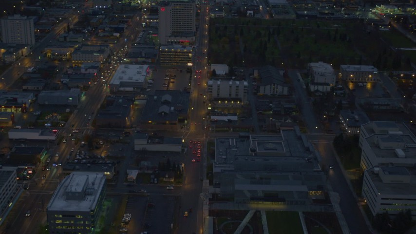 4K stock footage aerial video West 6th Ave, Sheraton Anchorage Hotel and Spa, Downtown Anchorage, Alaska, night Aerial Stock Footage | AK0001_0737