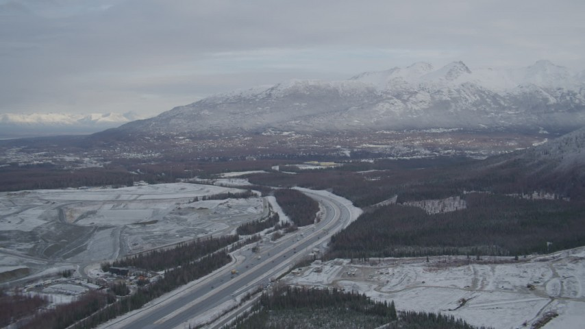 4K stock footage aerial video Glenn Highway, Eagle River Valley, Chugach Mountains, Eagle River, Alaska Aerial Stock Footage | AK0001_0743