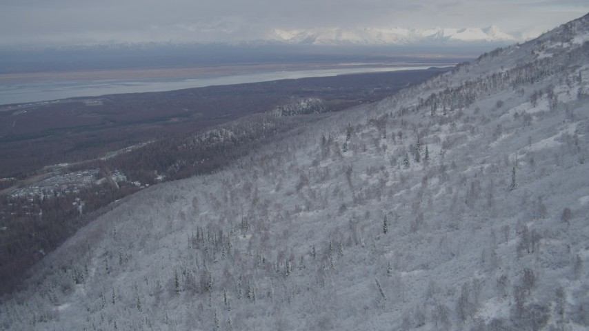 4K aerial stock footage video Knik Arm of the Cook Inlet in winter, seen from the Chugach Mountains, Alaska Aerial Stock Footage | AK0001_0757