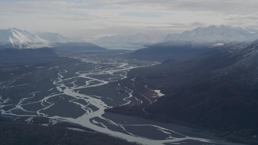 4K aerial video a view of the Knik Glacier, snowy Chugach Mountains, Knik River Valley, Alaska Aerial Stock Footage   AK0001_0788