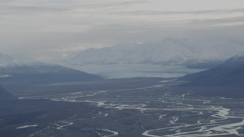 4K stock footage aerial video Knik Glacier, snowy Chugach Mountains, Swan Lake, Knik River Valley, Alaska Aerial Stock Footage | AK0001_0789