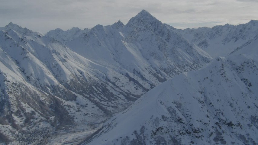 4K stock footage aerial video approach snowy Chugach Mountains, Alaska Aerial Stock Footage | AK0001_0798
