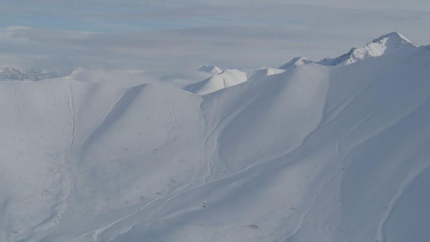 4K stock footage aerial video approaching snowy ridge, Chugach Mountains, Alaska Aerial Stock Footage | AK0001_0821