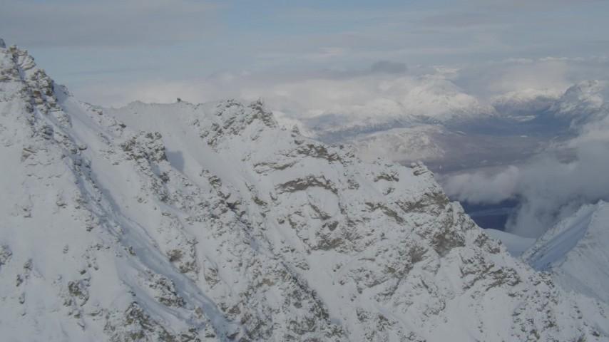 4K stock footage aerial video Matanuska River Valley, Talkeetna Mountains, snowy Chugach Mountains, Alaska Aerial Stock Footage | AK0001_0833