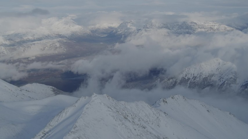 4K stock footage aerial video Matanuska River Valley, Talkeetna Mountains, snowy Chugach Mountains, Alaska Aerial Stock Footage   AK0001_0834