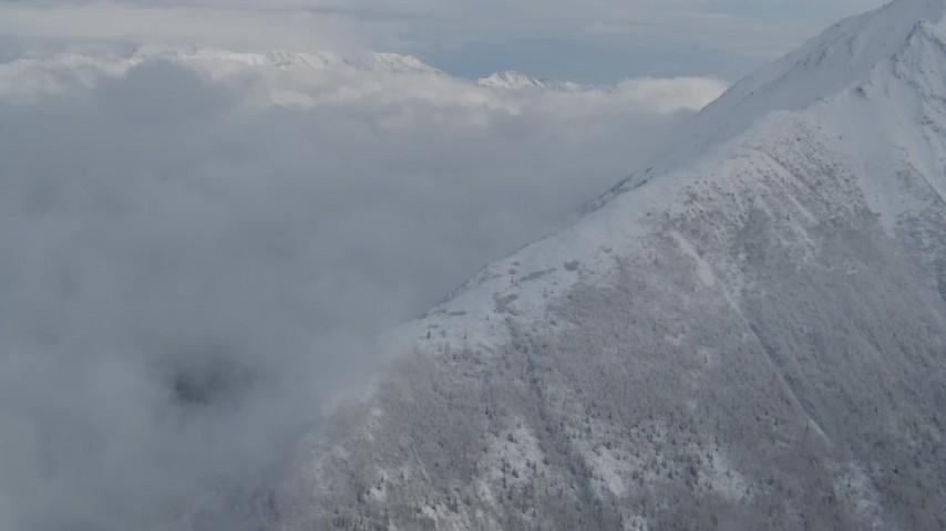 4K stock footage aerial video pan across Matanuska River Valley, Talkeetna Mountains, snowy Chugach Mountains, Alaska Aerial Stock Footage   AK0001_0847