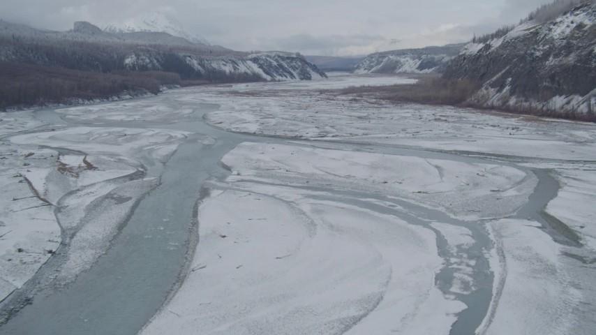 4K stock footage aerial video flying over icy Matanuska River Valley, Alaska Aerial Stock Footage | AK0001_0855