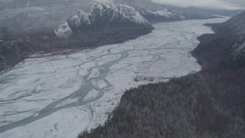 4K stock footage aerial video flying over the snow-covered Matanuska River Valley, Alaska Aerial Stock Footage | AK0001_0866