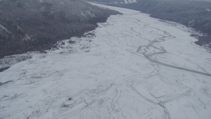 4K stock footage aerial video flying over the snow-covered The Matanuska River Valley, Alaska Aerial Stock Footage   AK0001_0867
