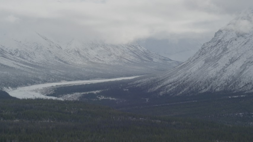 4K stock footage aerial video flying by snow-covered Chugach Mountains, Matanuska River Valley, Alaska Aerial Stock Footage   AK0001_0882