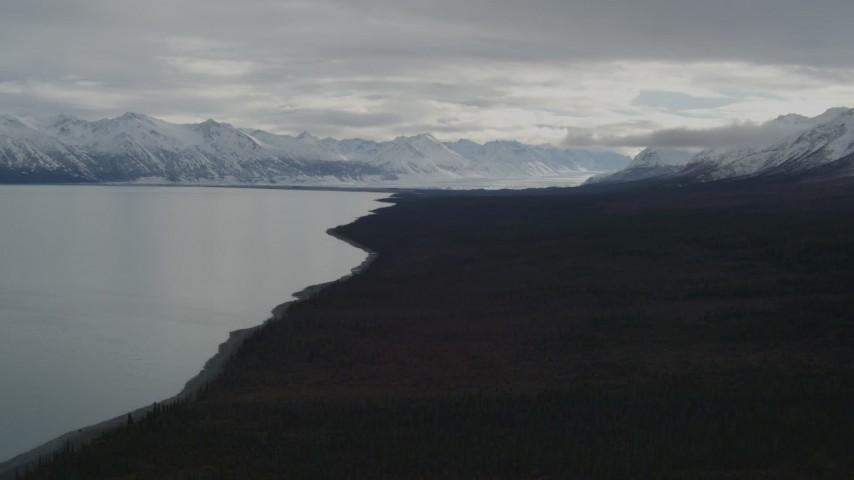 4K stock footage aerial video flying along wooded shoreline toward snowy mountains, during winter, Tazlina Lake, Alaska Aerial Stock Footage | AK0001_0911