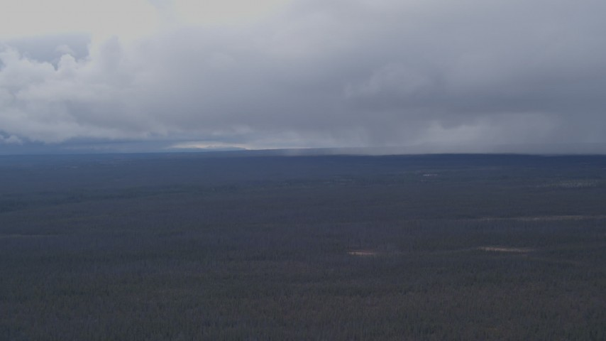 4K stock footage aerial video flying over forest toward rain clouds, Alaskan Wilderness Aerial Stock Footage | AK0001_1015