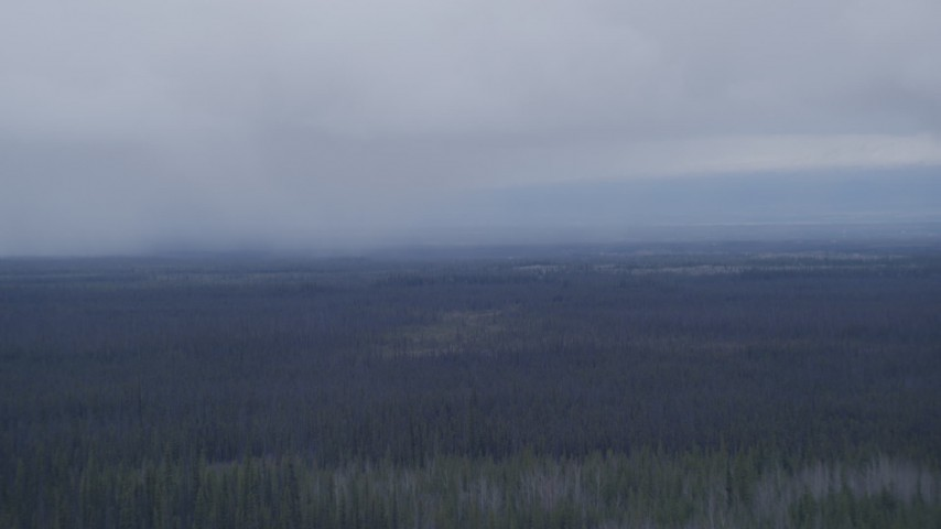 4K stock footage aerial video flying away from rain clouds over forest, Alaskan Wilderness Aerial Stock Footage | AK0001_1022