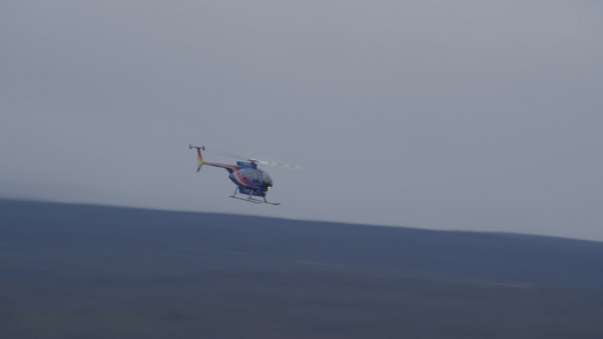 4K stock footage aerial video tracking a helicopter, Alaskan Wilderness Aerial Stock Footage | AK0001_1034