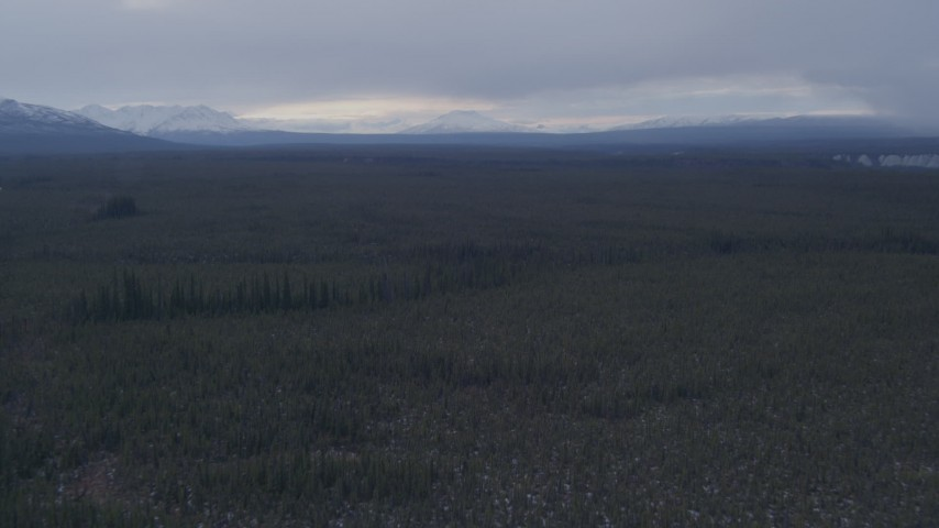 4K stock footage aerial video flying over forest towards snow capped mountains, Alaskan Wilderness Aerial Stock Footage   AK0001_1039
