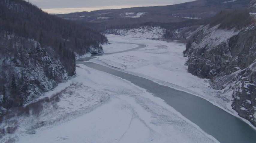 4K stock footage aerial video fly over the Matanuska River and snowy Matanuska River Valley, Alaska Aerial Stock Footage | AK0001_1084